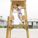 A couple on a nearby lifeguard chair at Narragansett Beach.
